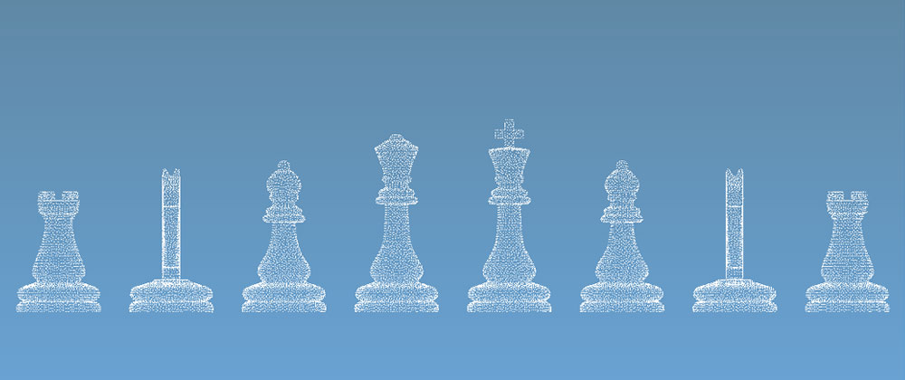 3d point cloud of chess piece models