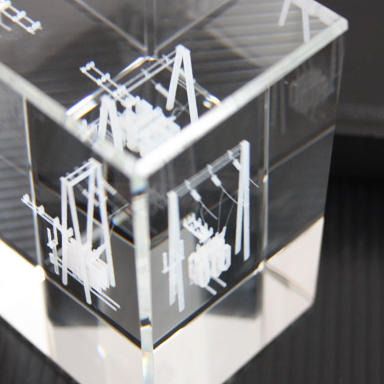 3d model in crystal, isometric view of the engraving result