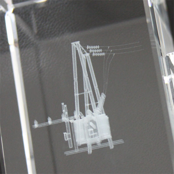 3d model in crystal, front view of the engraving result