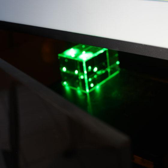 grüner laser, unter der Oberfläche
