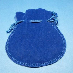 Blaues Samtsäcken für Schlüsselanhänger