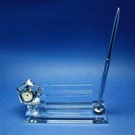 pen/card holder including clock