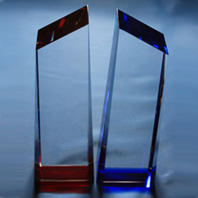 crystal trophy, top-seller, red or blue
